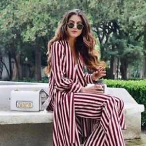 Zara NWT asymmetric striped tunic M red white